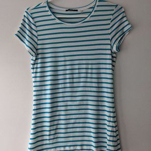 Tahari Striped Short Sleeve Tee Teal White Small